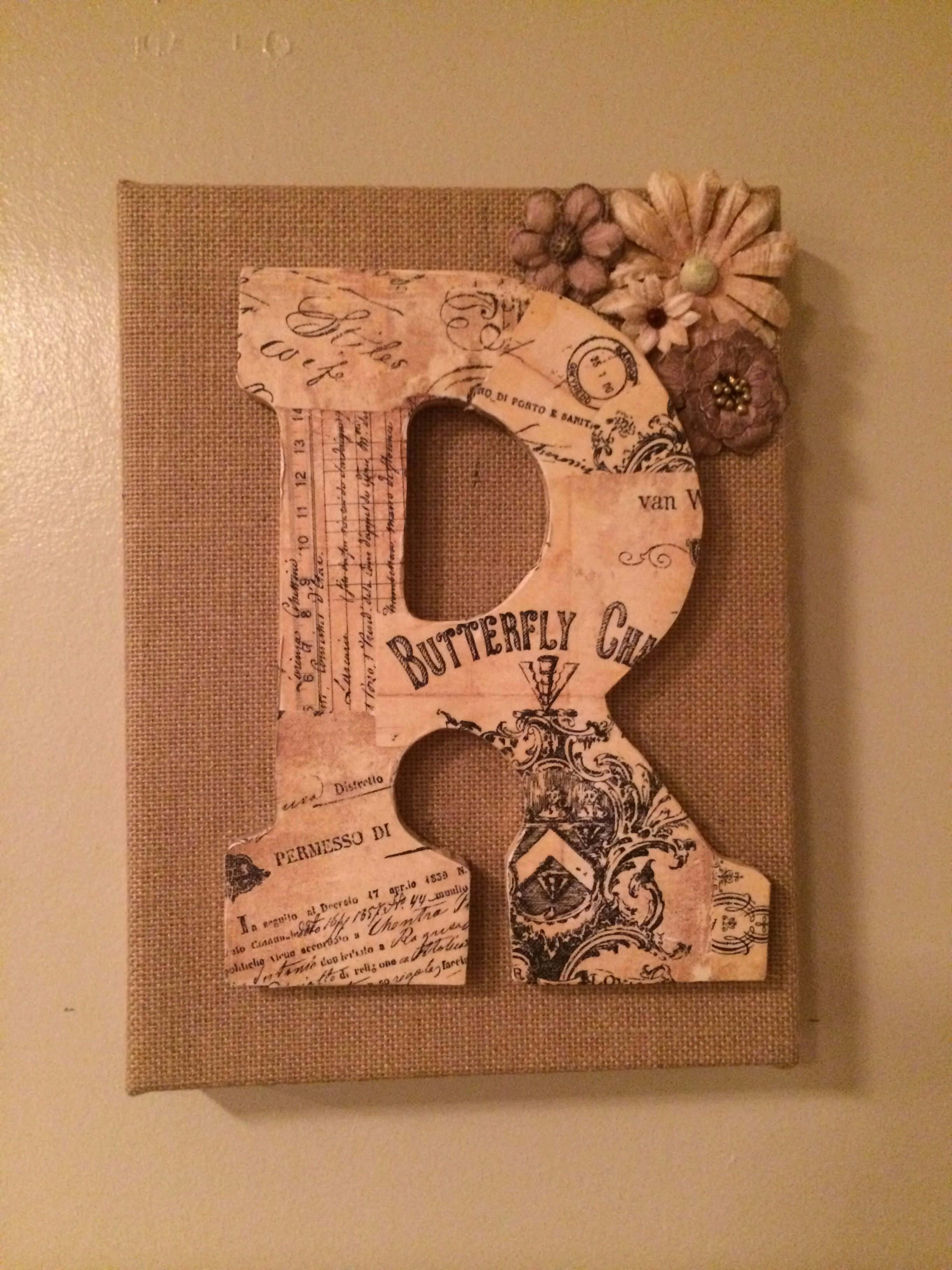 Buy the wooden letter cutout and burlap