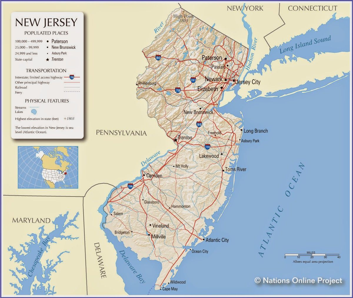 NEW JERSEY STATE OF NEW JERSEY U S Geography New Jersey