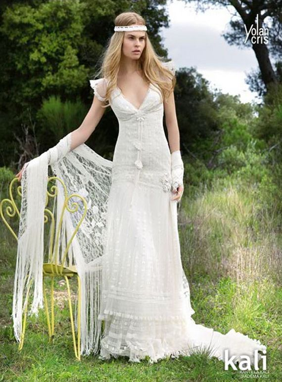 Bohemian wedding dress bohemian wedding dresses 37243g 570773 kali by yolan cris lace retro style wedding dress with cap sleeves and v neck junglespirit Image collections
