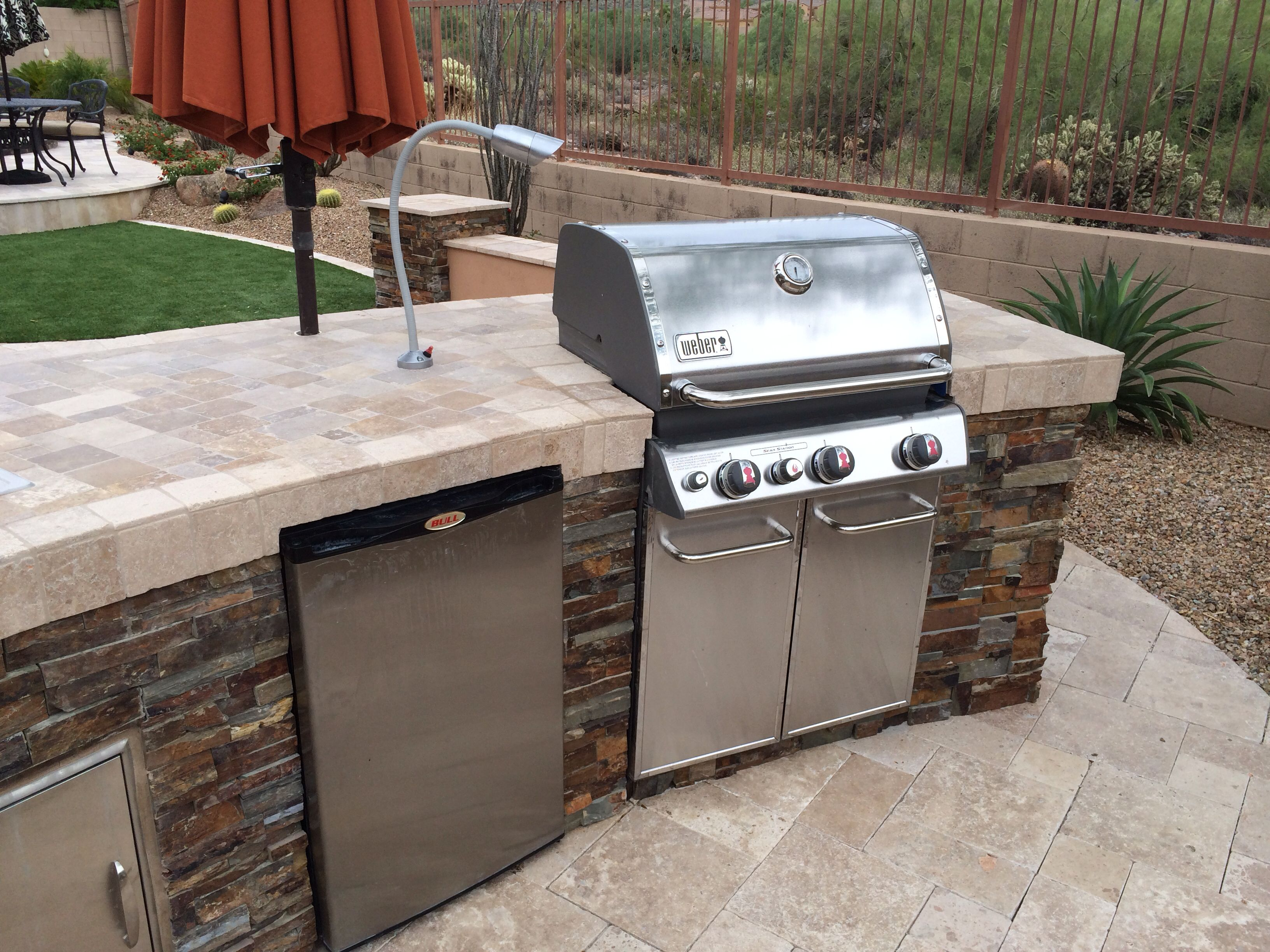 Outdoor Custom Bbq With Cultured Stone And Tile Counter Top Also