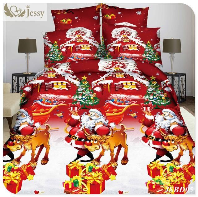 jessy home merry christmas bedding set duvet comforter cover twin queen size 4pcs santa claus deer