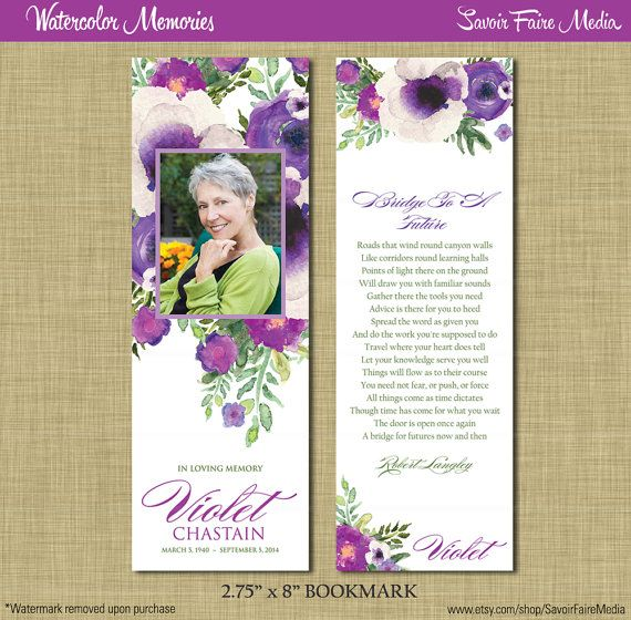 Funeral Bookmark Instant Download Printable Watercolor Etsy Memorial Cards For Funeral Memorial Cards Funeral Cards