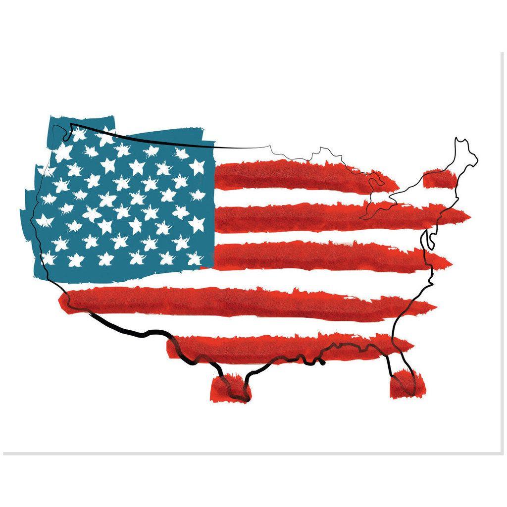 Secretly Designed Red White United States Flag Art Print