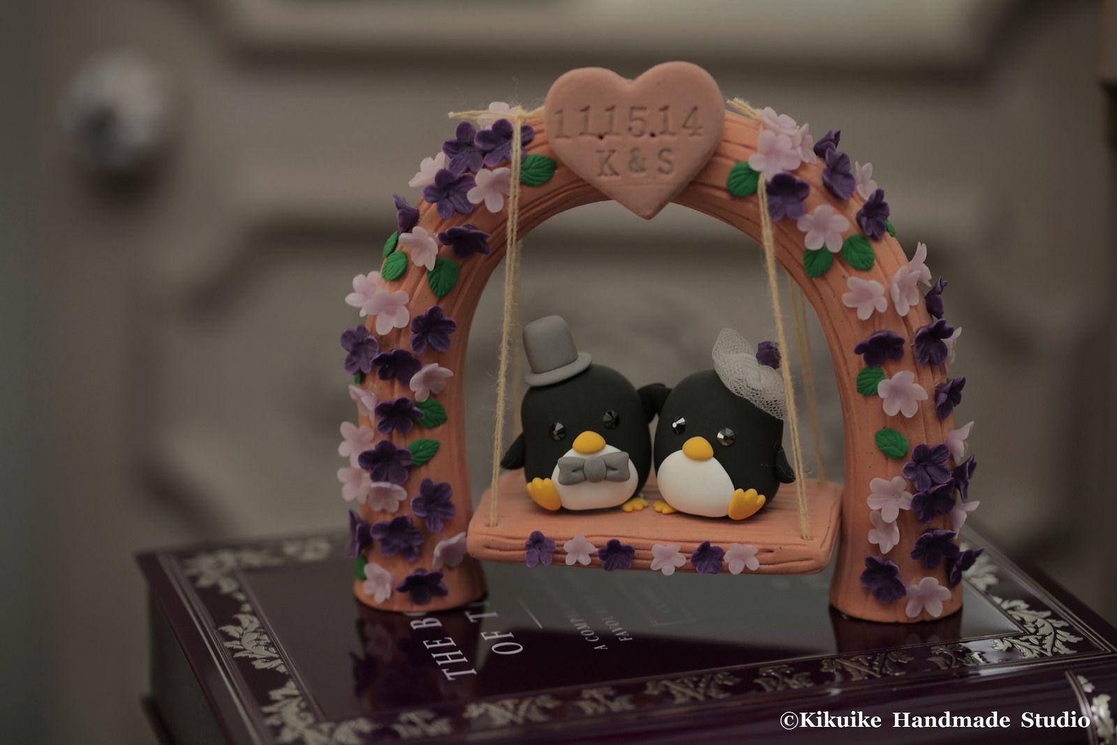 Custom Wedding Cake Topper -Handmade love penguin with love flower tree and a swing #cakedecor #gardenwedding