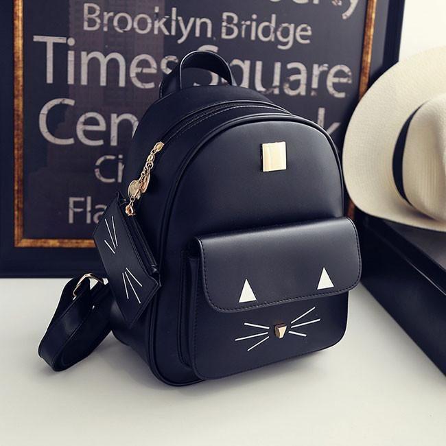 cute cartoon cat backpack casual leather kitty rucksack shoulder school bags