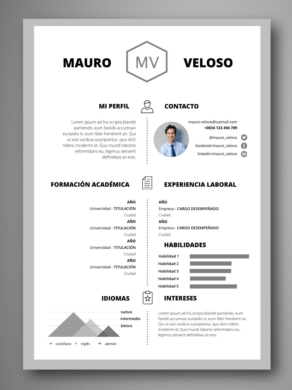 Pin de Eterna Becaria en Curriculum | Pinterest | Plantilla cv ...
