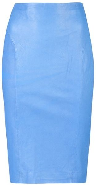 BY MALENE BIRGER Blue Leather Skirt. This A-line skirt features a gold zipper closure in the back center, asymmetric paneling and full lining.