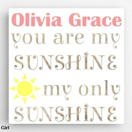 "Kid's Sunshine Canvas Sign $64.99  Availability: Usually Ships in 6-8 business days  Our Personalized Kid's Sunshine Canvas Sign is a perfect gift for your child to have in their room.  Available in 2 Designs:  1 - Boy 2 - Girl  Measurements: 18"" x 18""  Personalization: 1 Line up to 15 Characters  Market: Kid's Gift  Ships from MN by UPS"