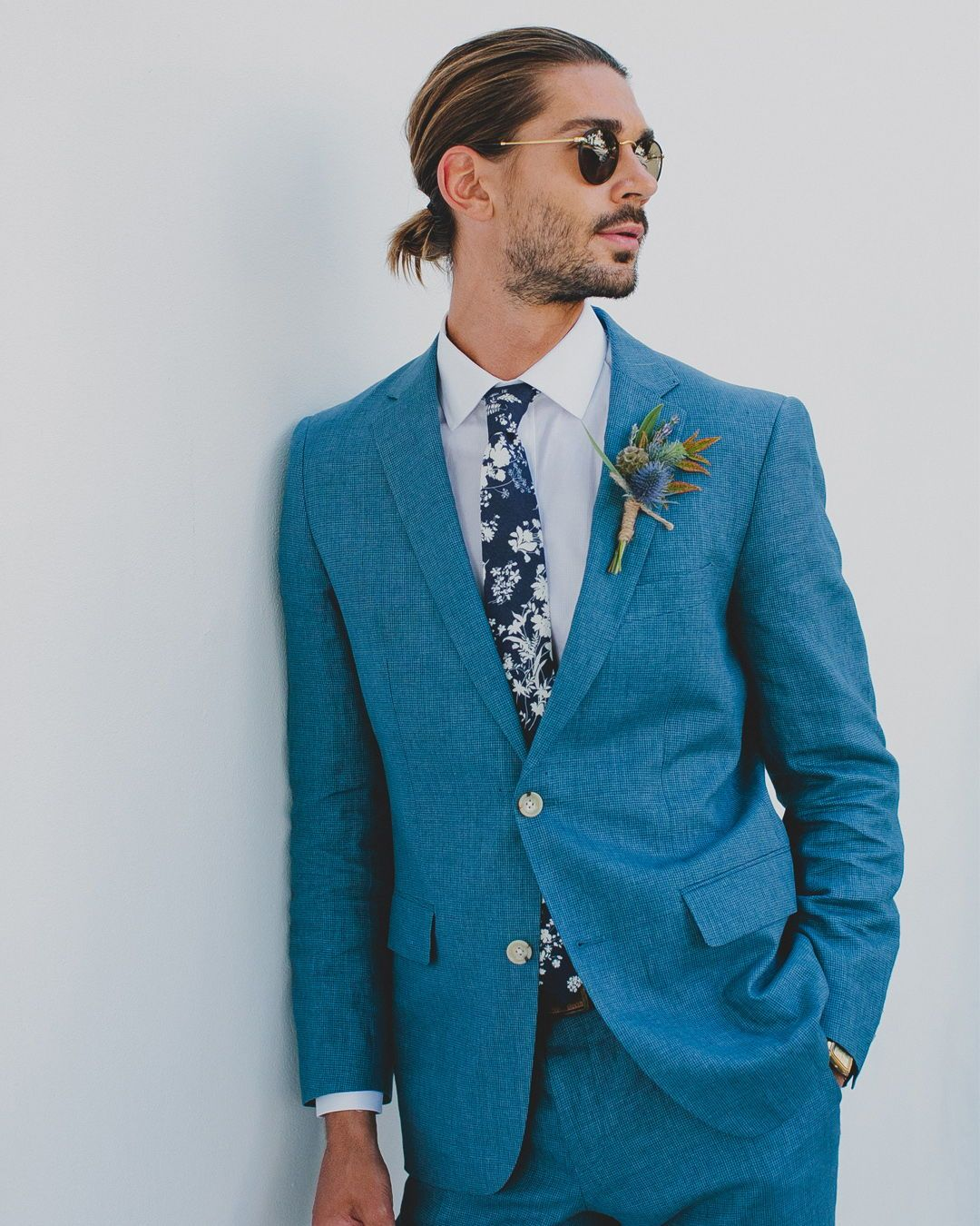 For the groom blue suit floral blue tie hipster | FOR THE GROOM ...