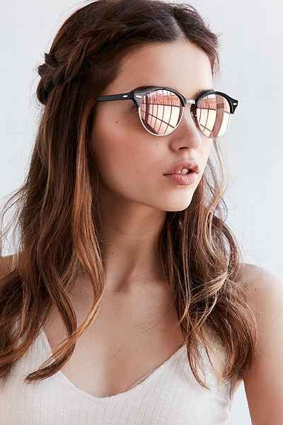 3c0bdfe0986266 Another sunnies obsession  Ray-Ban Clubrounds--black frames with mirrored  lenses.  3