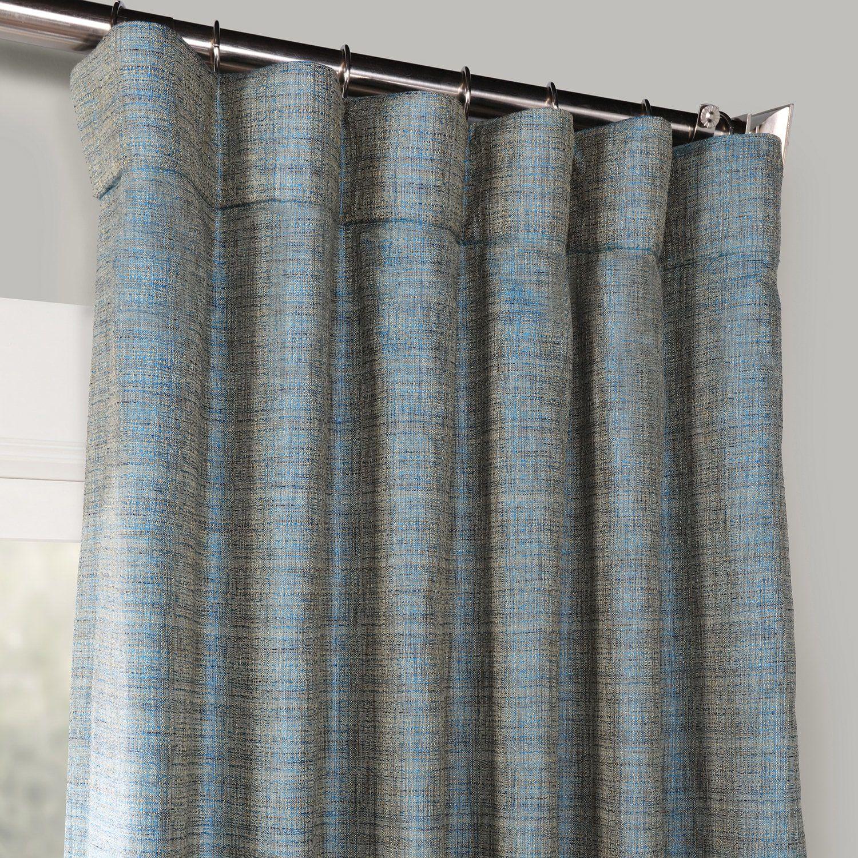 Turkish Blue Yarn Dyed Designer Faux Raw Textured Silk Curtain