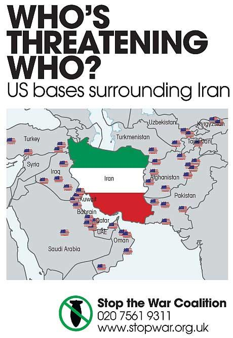 Whos threatening who Map of US military bases surrounding Iran