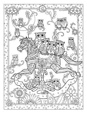 Creative Haven Owls Colouring Book By Marjorie Sarnat Rocking Horse