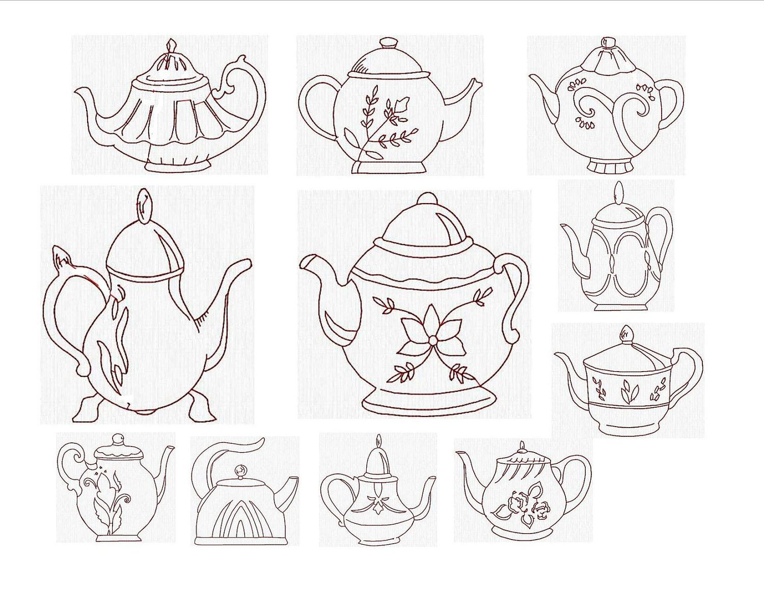Instant download machine embroidery designs nice teapots by