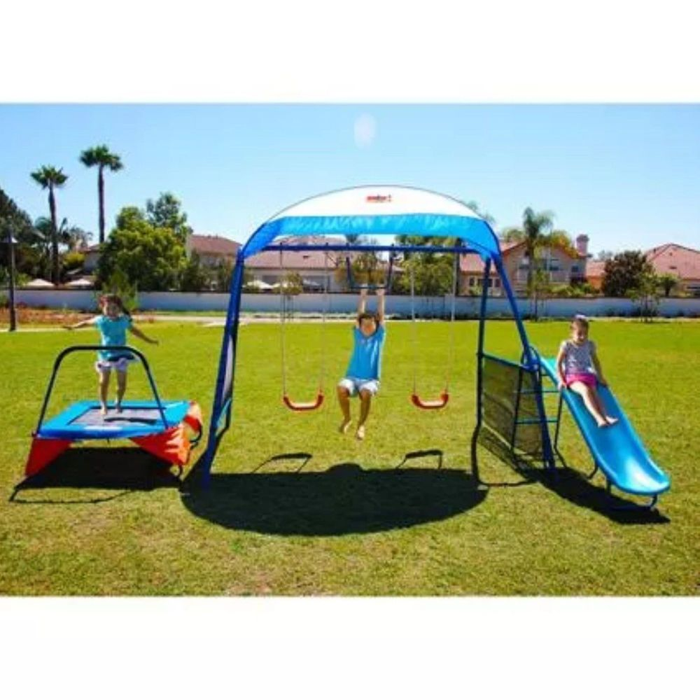 outdoor playset swing trampoline slide monkey bar kids fitness