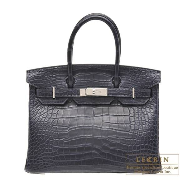 Hermes Birkin bag 30 Blue marine Matt alligator crocodile skin Silver  hardware 8a3985c339fa0