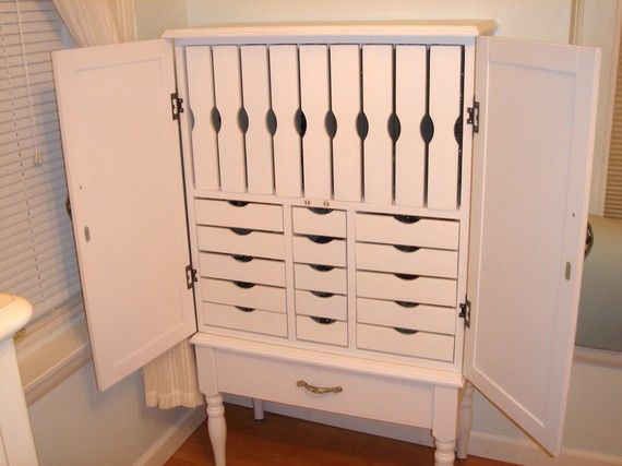 Custom Jewelry Armoire Storage 1 Large Bottom Drawer 5 Small