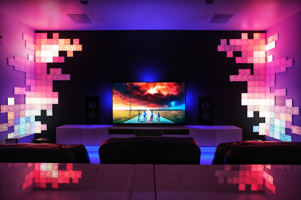 Finally finished my media room! Hue sync lights +