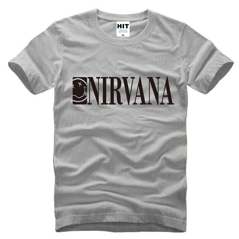 Nirvana Cobain smiley face classic rock band Mens