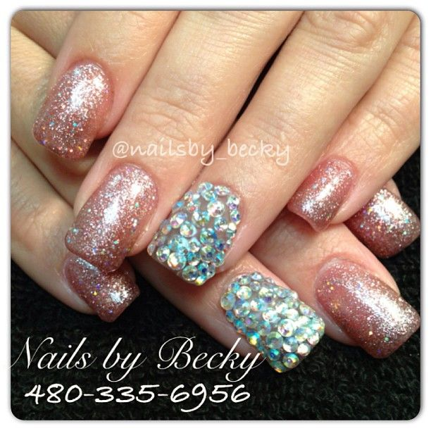Acrylic fill with rhinestone bling :) Located in Phoenix AZ
