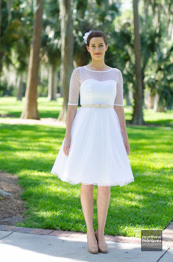 White Wedding Dress Polka Dot Tulle Fabric Retro Style Engagement