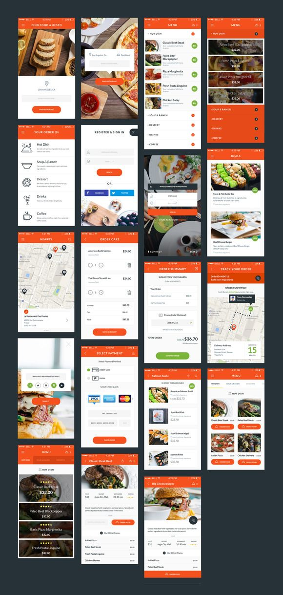 food delivery ui kit by psdmobileteam on creativework247