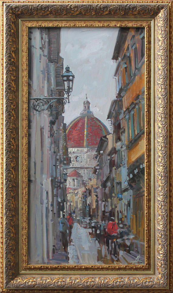 Landscape Oil Painting On Canvas Italian Art Florence Original Canvas Artwork Gift Oil Painting Interior Decor Cityscape Art Painting Cityscape Art Canvas Art