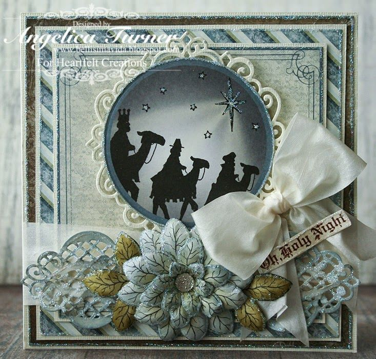 Christmas card featuring stamps, dies, and paper from Heartfelt Creations.
