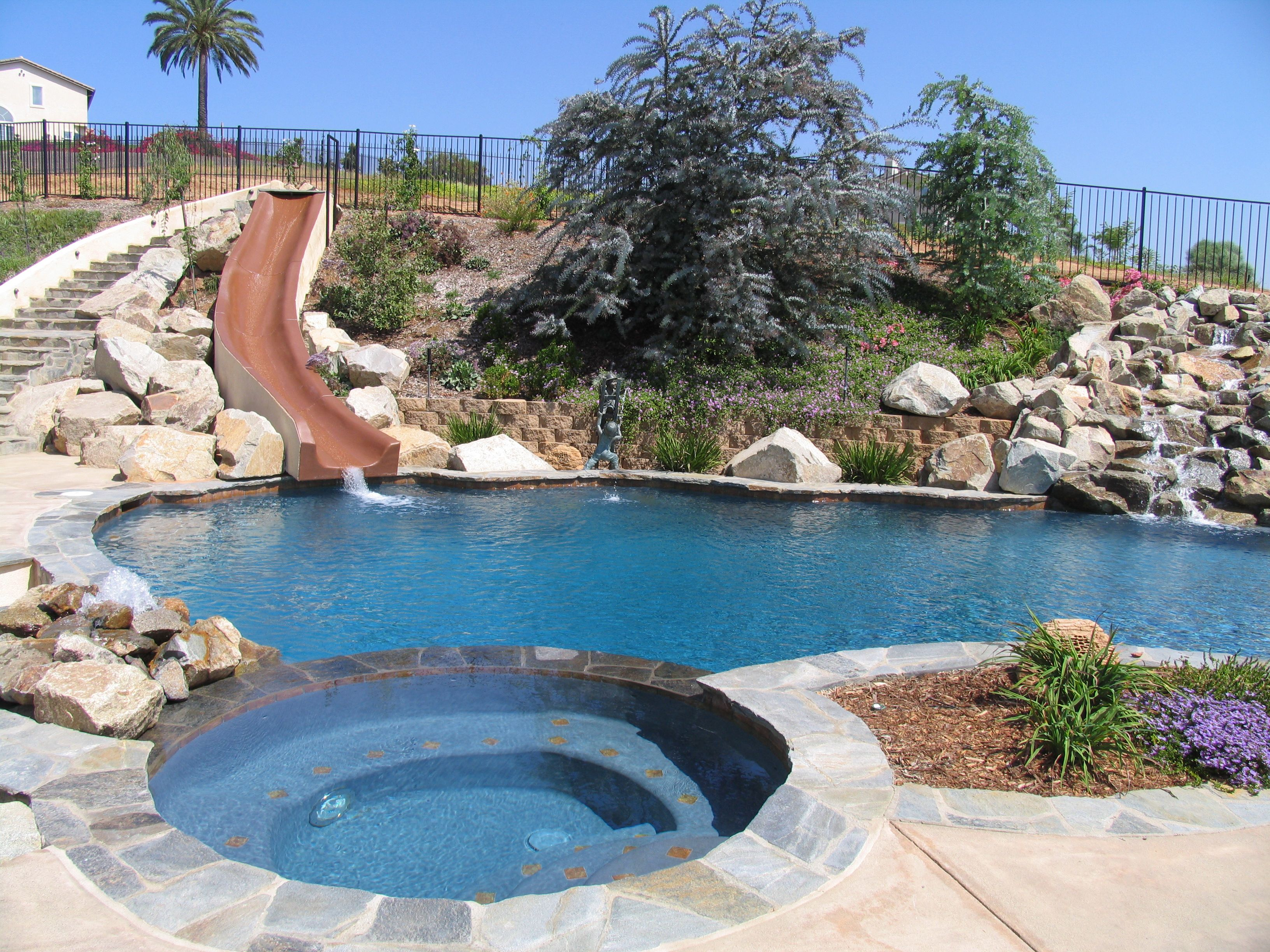 Swiming Pools Long Pool Slide With Rock Wall Design Also Oasis Pool Theme  And Mini Garden Besides Stainless Fence Pool Tubs Above Ground Liners  Backyard ...