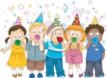 Iclipart Royalty Free Clipart Image Of Children Celebrating The New Year New Year Clipart Children Images New Year Printables