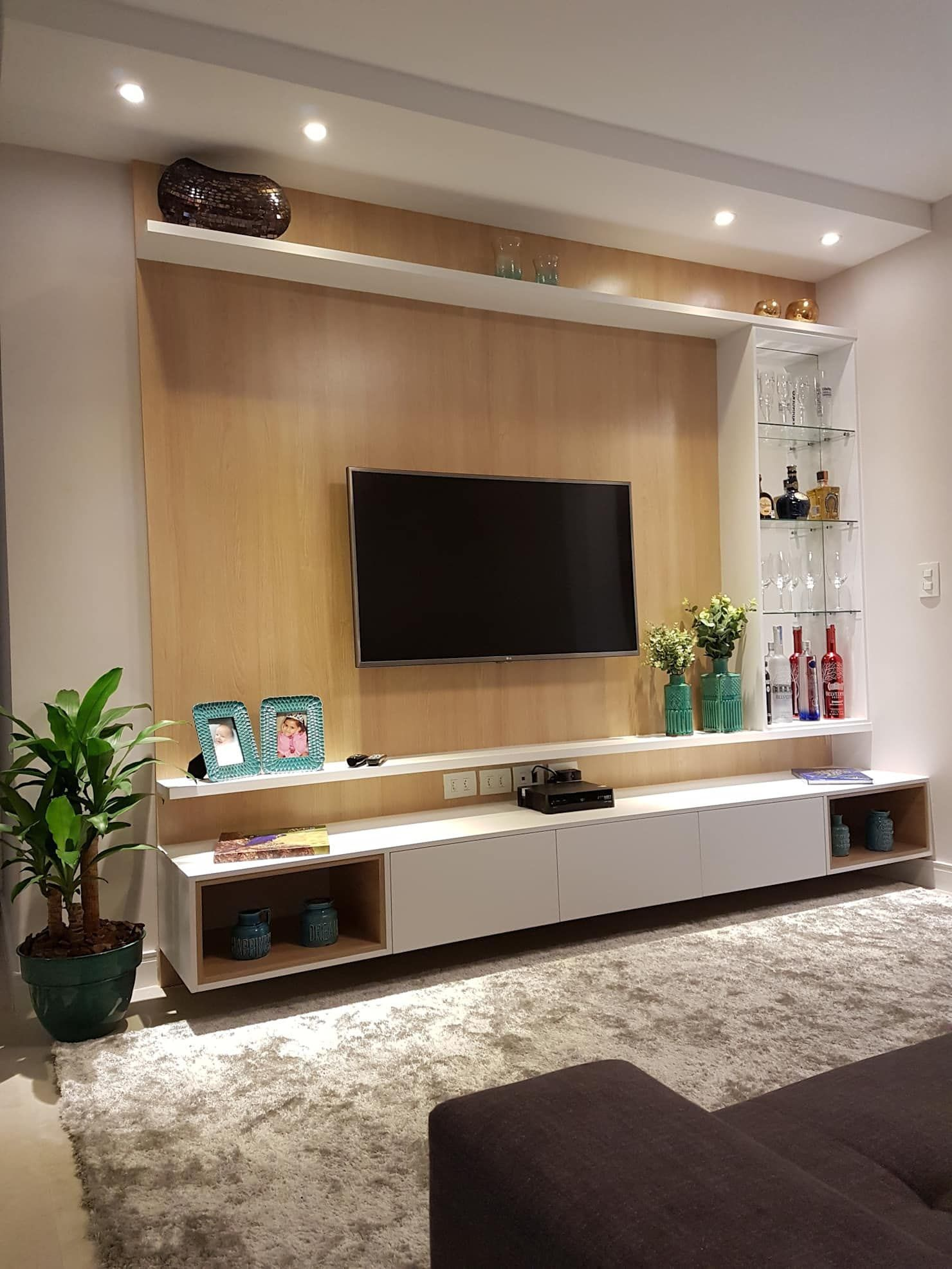 Decorator Tricks For Small Living Rooms And More Homes Tre Tv Room Design Wall Tv Unit Design Living Room Tv Wall