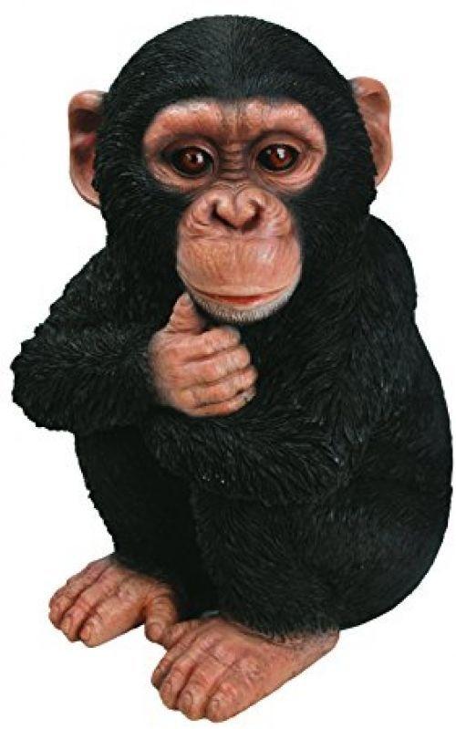 Baby Chimpanzee Figure Resin Ornament Sculpture Garden Decor Statue Sitin Monkey