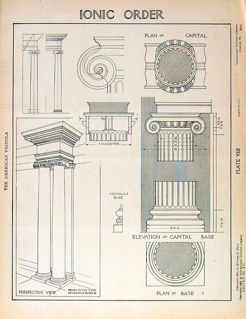 Architectural drawings ionic order 1904 by william r ware for Printing architectural drawings
