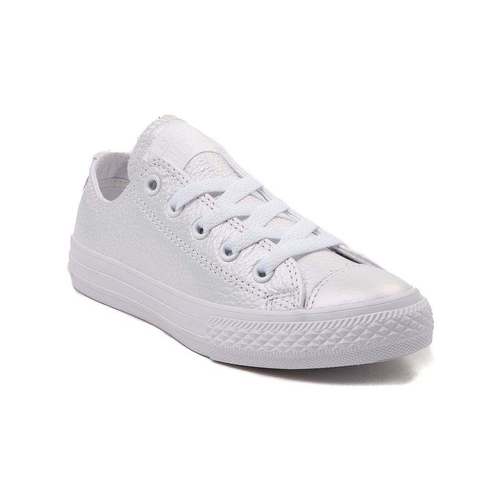 size 3 Youth Converse Chuck Taylor All Star Lo Leather Sneaker - Iridescent  White - 1399384 c4a0f298a