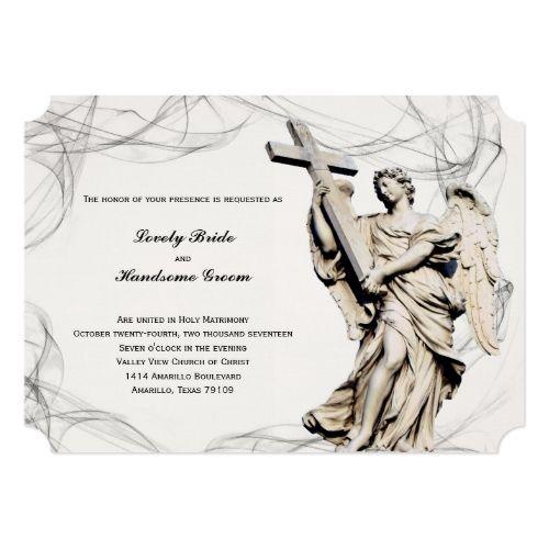 Catholic Wedding Invitation Angel Cross Christian Wedding Invitation