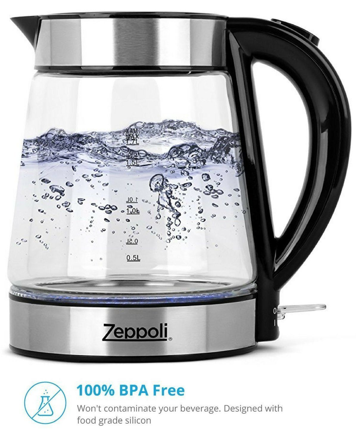 Electric Kettle Glass Tea Kettle 1.7L Fast Boiling and Cordless Stainless Steel