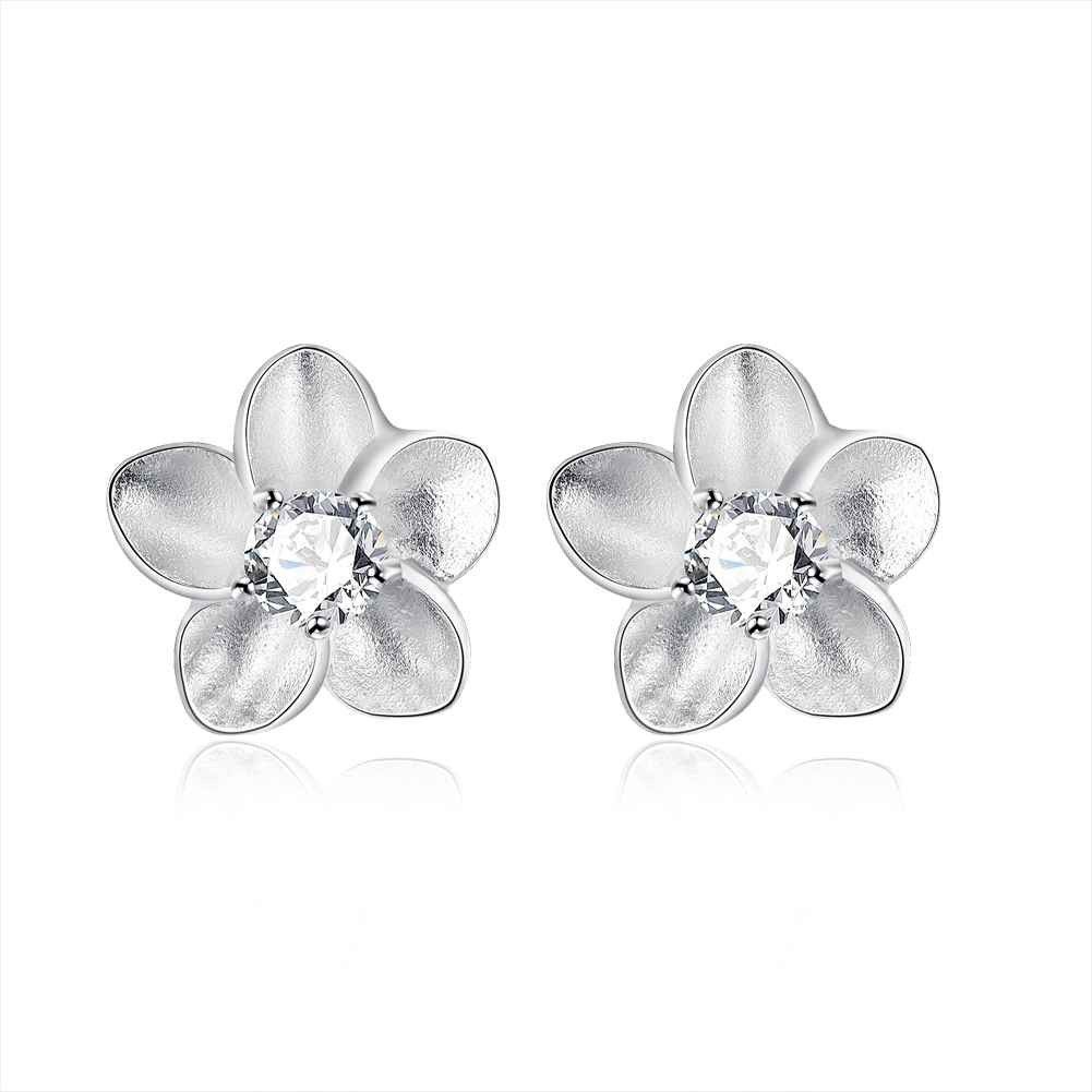 Beautiful Fashion silver plated earrings Rose White Stone stud ...