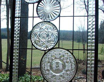 stained glass panel Clear Cascade Transom window custom