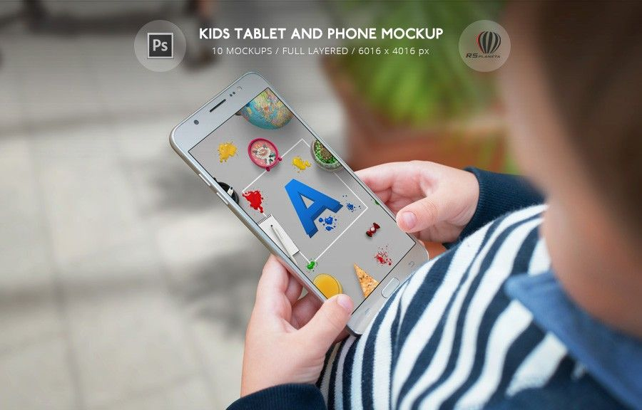Kids Tablet and Phone Mockup Photoshop PSD file with 10 mockups for