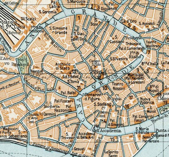 Venice Italy The Grand Canal Antique Map Original Color Lithograph
