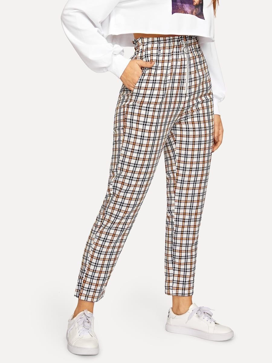 f86d4ce900 Exposed Zip Fly Plaid Peg Pants -SHEIN(SHEINSIDE) | cool clothes in ...