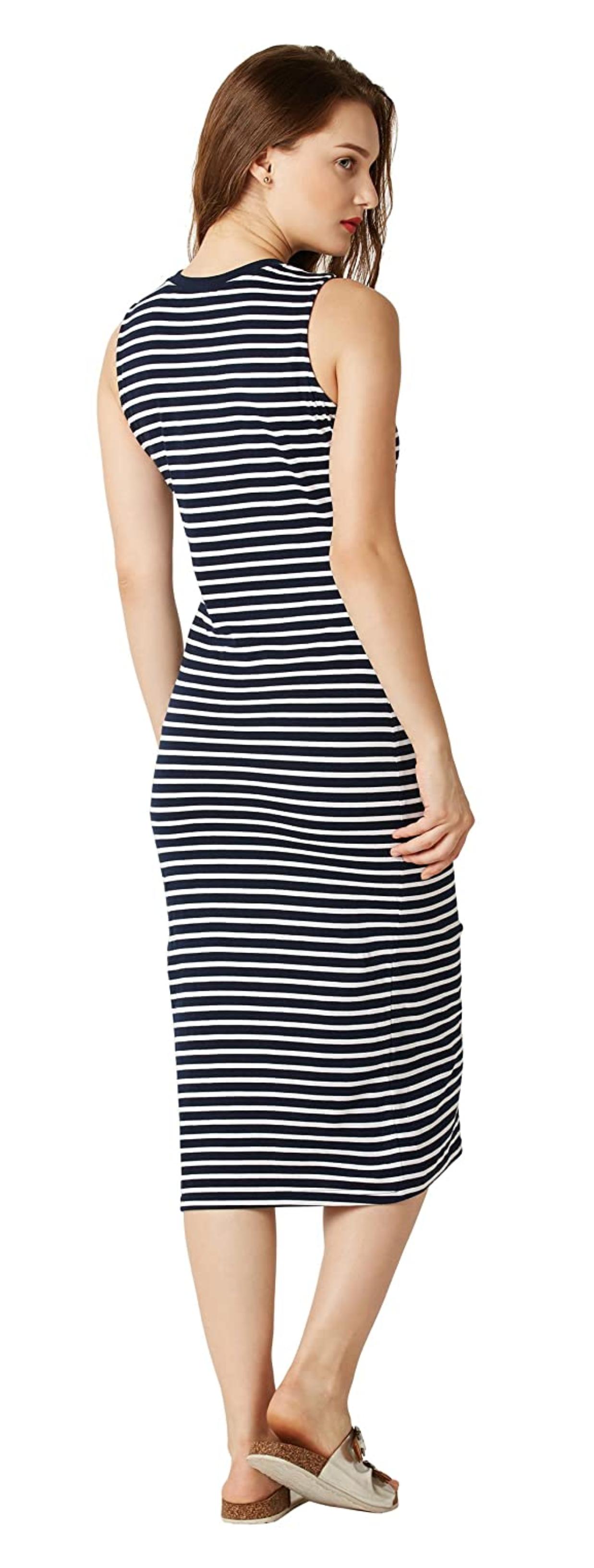 Miss Chase Women S Comfortable Cotton Striped Bodycon Midi Dress Striped Bodycon Midi Dress Bodycon Dress Half Sleeve Dresses [ 3264 x 1237 Pixel ]