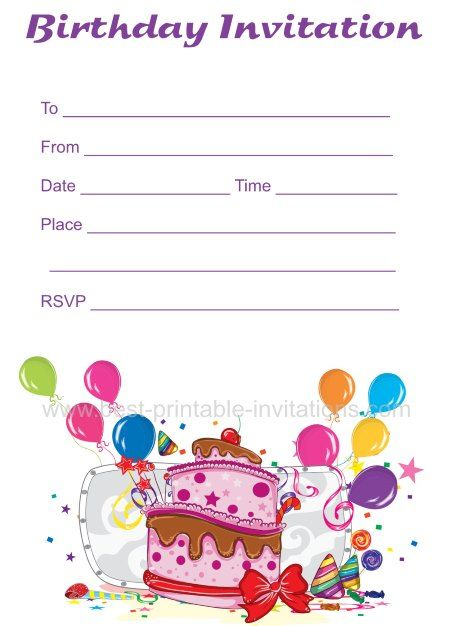 Birthday invitations - free printable invites from wwwbest - free birthday template invitations