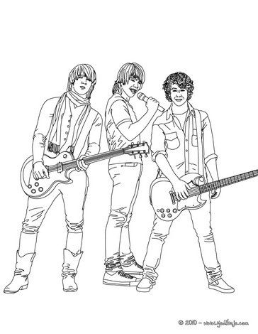 jonas brothers with guitars coloring page more famous people coloring sheets on hellokidscom - People Coloring Page