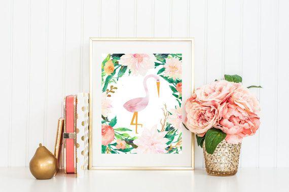 Arte flamenco infantiles, imprimir acuarela Flamingo con flores