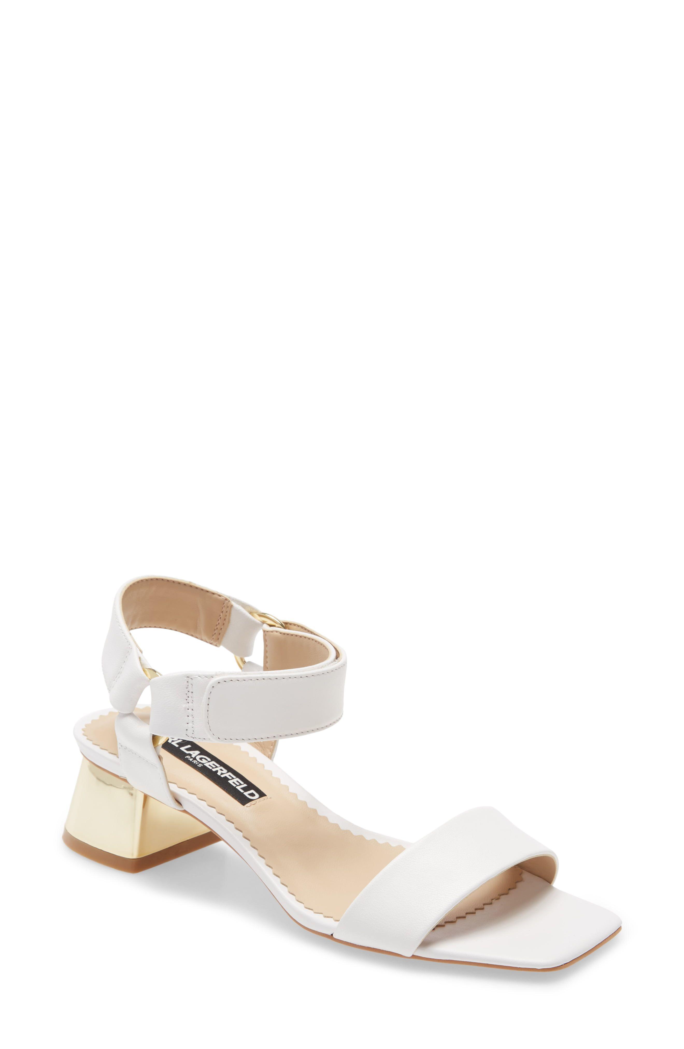 Karl Lagerfeld Paris Morico Square Toe Sandal Women In 2020 Karl Lagerfeld Sandals Kitten Heels