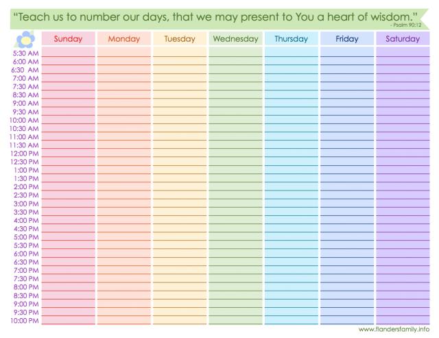 Free Printable Weekly Schedule  Rainbow  Planners  Free