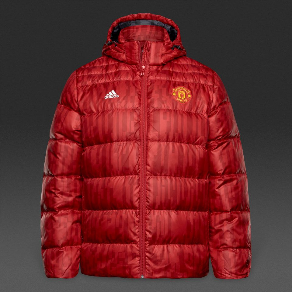 adidas Mens MUFC Manchester United Down Padded Jacket Red White Detachable Hood