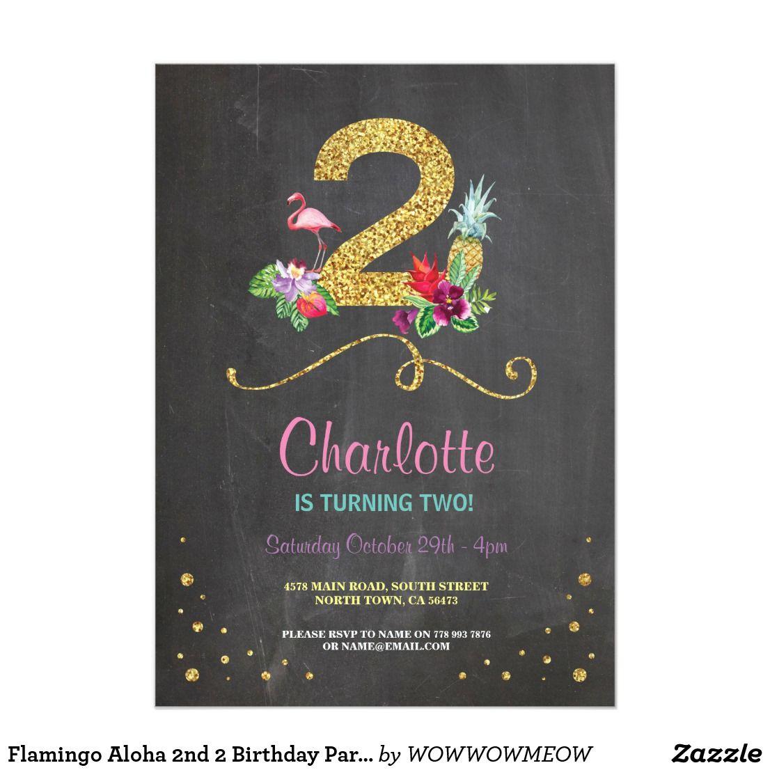Flamingo Aloha 2nd 2 Birthday Party Chalk Invite Flamingo And
