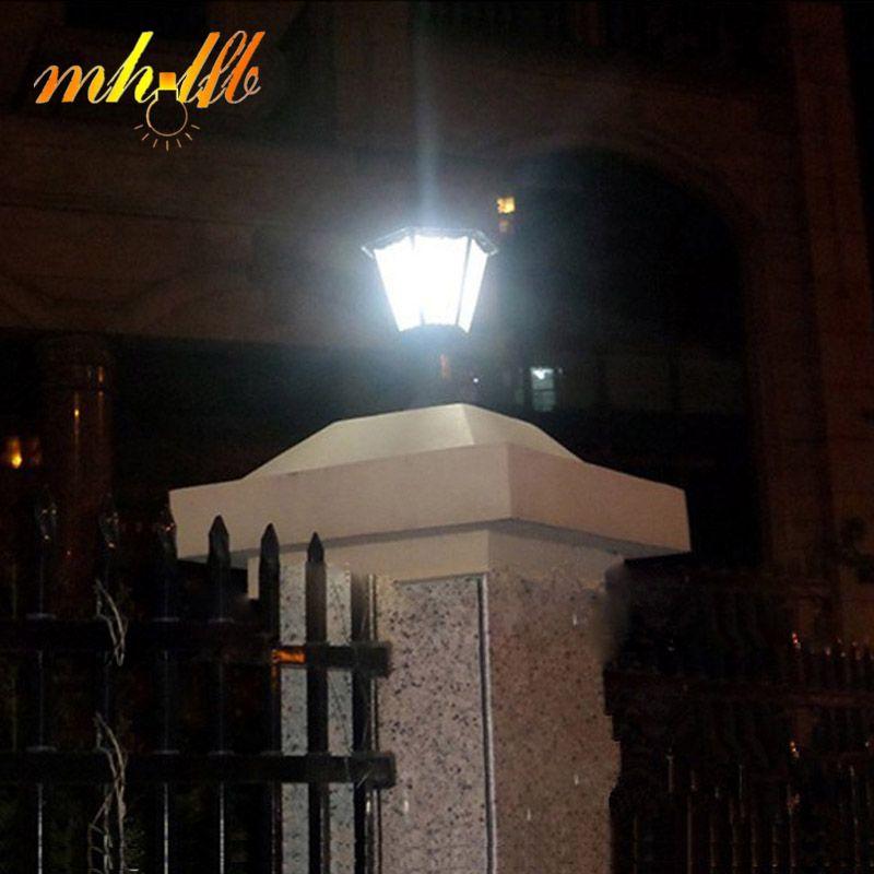 LED Solar Panel Wall Lamps Lustre Sconce Porch Home Garden Pillar